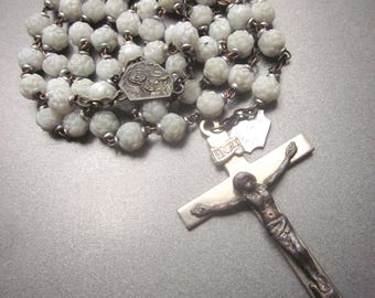 Vintage French White Glass Rose Beads Rosary