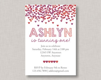 Confetti Birthday Invitation, Heart Birthday Invitation, Valentine Birthday Invitation, Heart Invitation, Chalkboard Birthday Invitation