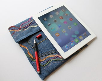 Sandstorm iPad Case with Stylus Pocket - Upcycled Jeans iPad Cover Sleeve for iPad or iPad Air and Bluetooth Stylus