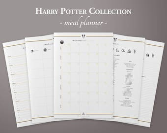 Harry Potter Meal Planner Bundle, Weekly & Monthly Planner, Grocery List, Printable Meal Plan, Planner Inserts, Bullet Journal