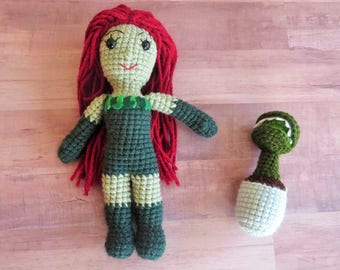 Poison Ivy crocheted doll (ready to ship) inspired by DC Comics, Poison Ivy doll, superhero doll, villain, comic book villain, gotham sirens