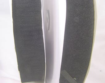 """Hook and loop tape, black, both sides, sew on 1.5"""" x 3yds (12 for 9)  4531P"""