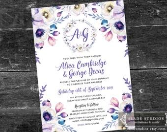 Monogram Wedding invitations in lilac floral. Printable Invitations. Purple, Lilac watercolour floral.