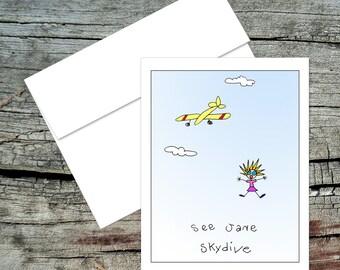 See Jane Skydive Blank Notecard, Dick and Jane, Original Art, Handmade Card, Aviation Theme, Pilot Humor