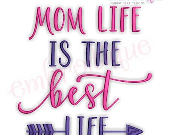 Mom Life Is The Best Life -Mothers Day Family   -Instant Download Machine Embroidery Design