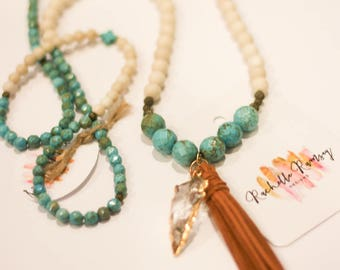 SALE***Turquoise and cream statement necklace