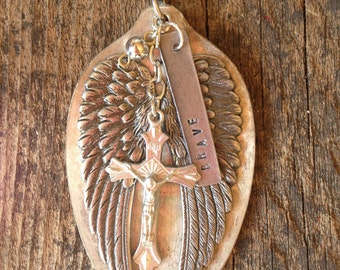 LARGE brave + wings serving spoon necklace