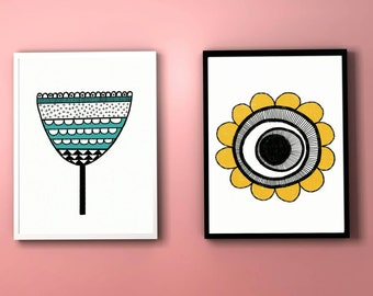 A4 retro Scandinavian flower digital illustration home decor prints in mustard and teal