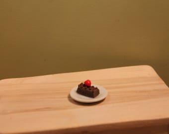 Dollhouse Miniature Slice of Chocolate Cake With Strawberry