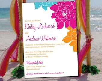 "Beach Wedding Invitation Template - Destination Wedding ""Island Blooms"" Begonia Orange Turquoise - DIY Wedding Template - Tropical Wedding"