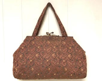 Vintage 1950s Purse / 50s Brown Brocade Damask Fabric Handbag