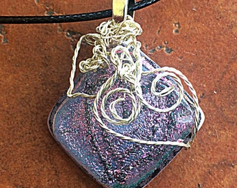 Hearts Dichroic Fused Glass Necklace Pink Lavender Handmade Silver Pendant Wearable Art Wire Wrapped Colors Jewelry Love