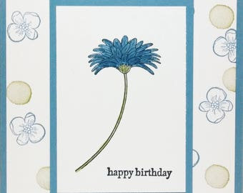 Get Well Card, Thinking Of You, Stampin Up Card, Handmade Card, Blue Flower Card, Greeting Card