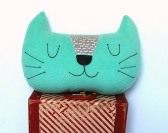 Cat Pillow, Nursery Decor, Kids Pillow, Cat Cushion, Kawaii Cat, Plush Cat Softie