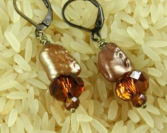 Copper Biwa Pearls, Crystal and Bronze Earrings