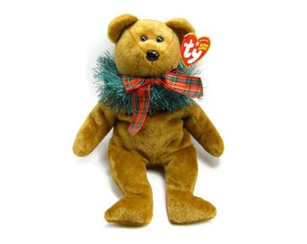 "HOLLYDAYS BEANIE BEAR By ""Ty"", Vintage Soft Toy, Plush-Fur Stuffed Animal, Mint New Original Tags, Holiday Christmas Decor, 3 Petunia Place"