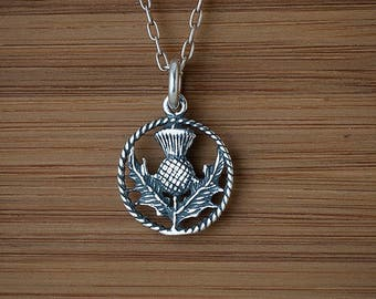 STERLING SILVER Scottish Thistle Celtic Charm Necklace or Earrings - Chain Optional