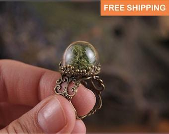 Moss ring, gift for women, gift for her, women gift, girlfriend gift, gift for mom, gift for sister, birthday gift, daughter gift, mom gift