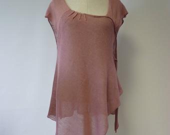 Summer asymmetrical powder pink linne tunic, L size.