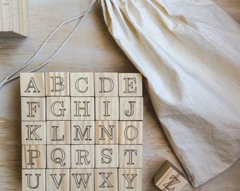 Woodburned Alphabet Blocks // ABC Letters // Alphabet Set // Nursery Decor // Engraved Wooden Blocks