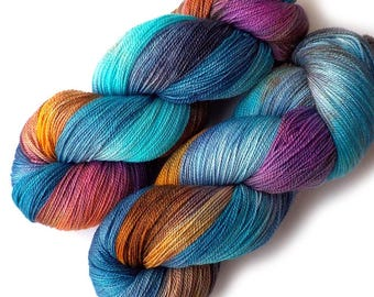 Hand Dyed Yarn Lace Yarn Merino and Silk - In the Window, 870 yards
