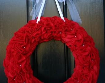Red felt flower wreath
