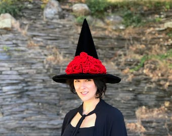Witch Hat Black Hat Society, Halloween Adult Costume, Elegant Red Roses Witches Hat