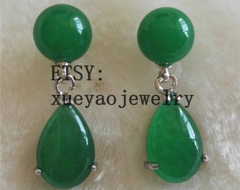 jade earrings, green jade earrings, 10 mm jade earrings