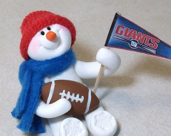 New York Giants football snowman ornament