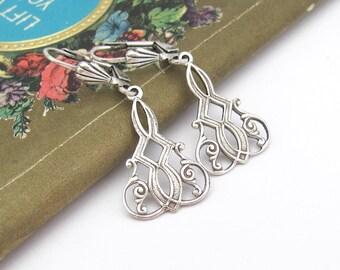 Art Nouveau Earrings, Dainty Earrings, Antiqued Silver Plated Earrings, Bridesmaid Gift, Bridal Jewelry, Wedding Jewelry, Art Deco Earrings
