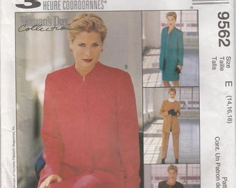 Pants Pattern Pull-on Pants, Unlined Jacket Skirt Top Size 14 - 16 - 18  Uncut McCalls 9562