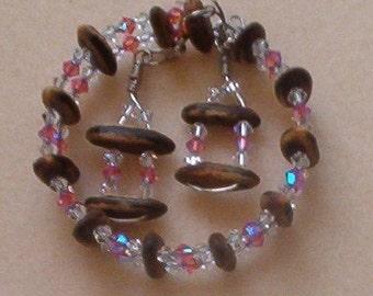 Handmade Hawaiian Royal Poinciana seed and rose color Swarovski crystal bracelet and earrings