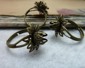 10pcs Antique bronze 16mm finger flower finger rings sets, ring setting Jewelry findings ZF0