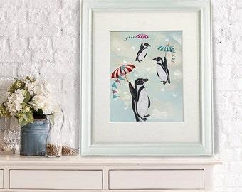 Nursery Art for Kids Room Decor Floating Penguins Umbrellas penguin print penguin decor penguin picture Wall Art for Baby Room nursery decor