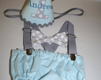 baby blue cake smash outfit boys first birthday outfit boys 1st birthday baby blue, gray, white, boys diaper cover, bow tie, suspenders, hat