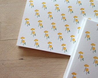 Letterpress California Poppies Notecards, Pack of 6