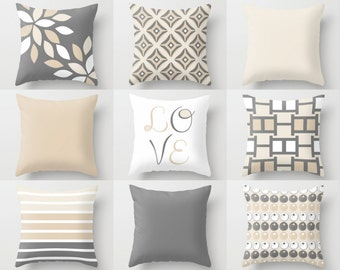 NEUTRAL Pillow Covers, Decorative Throw Pillows, Home Decor, Grey Beige, Love, Stripe, Mix and Match, Cushion Covers, Greige Decor