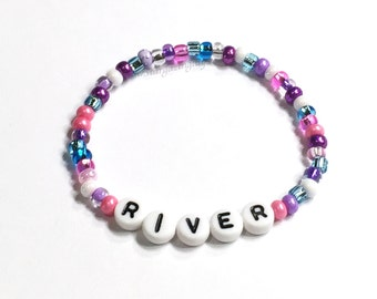 Personalized Name Bracelet Party Favor You choose the colors. Pink Blue & Purple Seed bead bracelet. Little Girls Jewelry Bracelets for kids