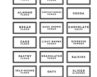42 BAKING PANTRY LABELS  (white precut modern black)