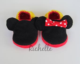 Mickey or Minnie Mouse Inspired Baby Shoes, Soft Sole Disney Baby Boy Girl Crib Shoes, Infant Toddler Slippers, Baby Shower Gift Idea