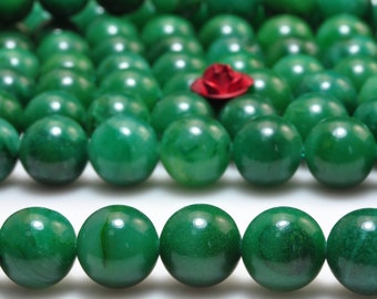 46 pcs of AAA Grade--Natural Green Verdite smooth round beads in 8mm