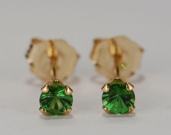 Green Tsavorite Earrings~14 KT Yellow Gold~3mm Round Cut~Genuine Natural Mined