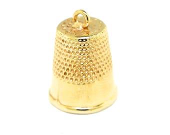 14k Yellow Gold 3D Sewing Thimble Charm/ Pendant