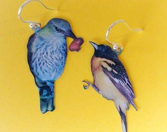 Bird vintage tin earrings