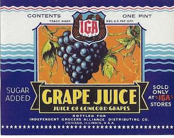 Grape Juice Vintage Label, IGA, 1970s