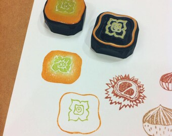 persimmon hand carved rubber stamp.persimmon rubber stamp.persimmon stamp.