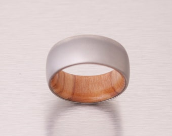 titanium olive ring // wide band wood ring // mens wood ring // wood wedding band // mens wedding ring // her him ring