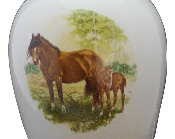 Featured listing image: Horse & Colt Adult Cremation Urn, Large Ceramic Jar with Lid, Large Urn for Ashes, Large urn, Large Funeral Urn, Art Pottery, handmade