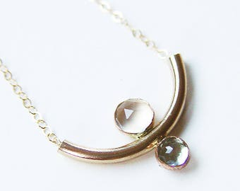 Crescent Moon Gold Necklace, Aquamarine Moonstone Necklace