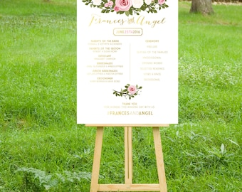 The ASHLEY Program Sign. PRINT or PDF, Shipping Included. Wedding Party Ceremony. Gold Calligraphy . Blush Pink White Rose Vintage Floral.